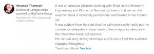 Women in Tech testimonial